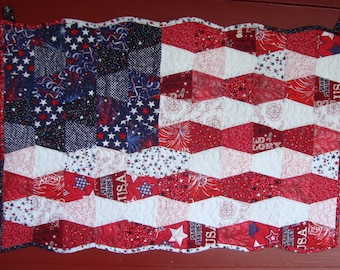 Made To Order American Flag Quilted Wall Hanging Tumbler Red, White, Blue