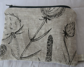 Hand printed linen purse with seed head design * Linen pouch * Coin purse * Handprinted linen pouch* Screen printed pouch * Kvila Design