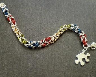 Autism Awareness Bracelet- Asperger Bracelet-- Autism Acceptance Bracelet ,Light it up Blue, Autism bracelet, chainmaille autism bracelet