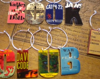 8 Book Club Wine Charms For Best Friends who are readers!  YOUR wine glasses need jewelry! Unique Gift for the Book Club Fan FAST Shipping