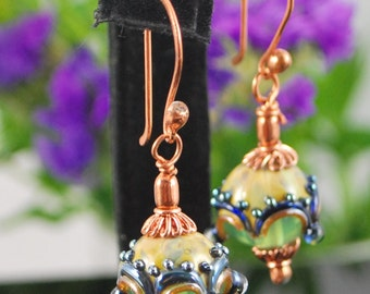 Unique lampwork beads and copper