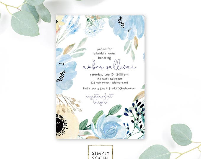 Something Blue - Boho - Blue Floral Bridal Shower Invitation - Garden Shower - Greenery Flowers Dusty Blue Invitation Watercolor Printable