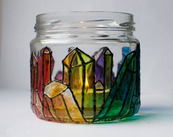Rainbow Crystal Design Hand Painted Glass Candle Holder