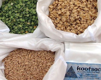 Reusable bulk food bags, reusable grain bag, reusable produce bag, ripstop nylon bags, white, set of three large bags