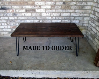 Coffee table, hairpin legs, living room decor, reclaimed wood, made to order, many color choices