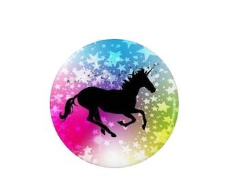 Unicorn Badge - Sparkly Rainbow Unicorn - Pin Back Badge - Fridge Magnet - Unicorn Lovers  - Cute
