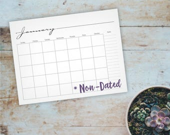 Whimsical Printable Monthly Calendar - Non-Dated Wall Calendar - Home or Office Notes Blank Wall Calendar - A4, Letter - Instant Download