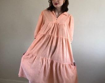 80s gauzy semi sheer puff sleeve dress / oversized woven maxi dress / cantaloupe cotton tiered dress | s m l