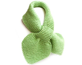 Toddler Knit Scarf. Kids Green Pull Thru Neck Wrap. Keyhole Muffler 2 to 4 Years. Child's Winter Neck Warmer. Bow Tie Loop Ascot
