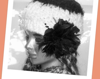Hand Knit Hat Women  Halfhat   Girls  Headband  Earwarmer Xmas Gift Mom Sis Friend