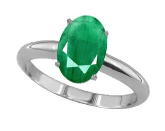emerald ring  emerald silver ring