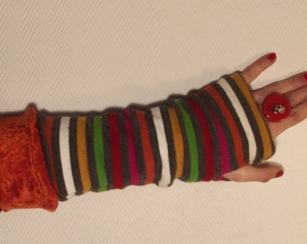 Striped reversible mittens...