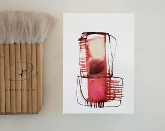 Red stone, abstract art, Ink art drawing, minimal drawing, modern art, geometric art, abstract painting, abstract, modern by Cristina Ripper