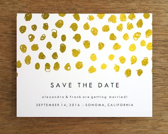 Printable Save the Date Card - Save the Date Template - Instant Download - Save the Date PDF - Gold Dots Save the Date PDF - Gold Polka Dots