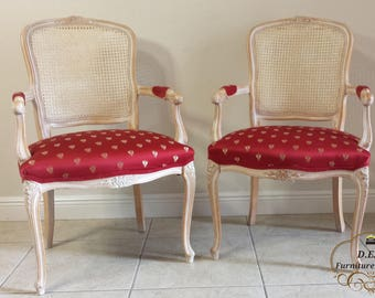 Pair of French Bergere Louis XV Style  chairs