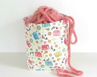 Yarn Bowl, Elephants Fabric Basket, Toy Storage Bin Girl's Nursery Decor, Craft Supplies Organizer, Reversible Knitting Yarn Bin