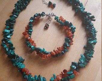 Double Strand Malachite and Carnelian Nugget Necklace
