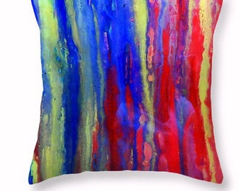 Decorative Pillow, Throw Pillow, Original Abstract Artwork printed on custom size accent pillow for bedroom or couch.