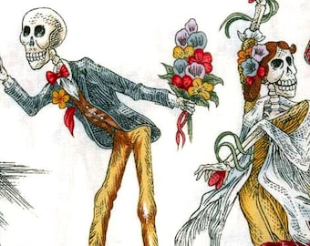 Mexican Dancing Skeletons Alexander Henry Cotton Fabric