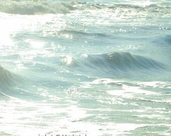Ocean Photograph, Aqua Blue Photography, Sea Water Abstract, Calming Blue Ocean Print 8x8