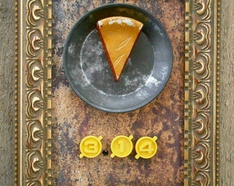Repurposed Recycled Pi 3.14 Mixed Media Assemblage Wall Art