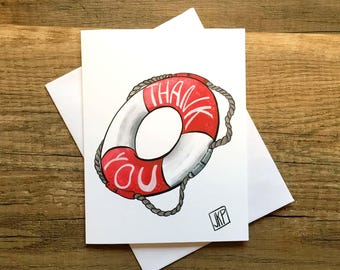 Funny Thank You Card, Thank You Card, Funny Greeting Card, Greeting Card, Life Saver