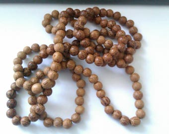 vintage wood bead long necklace