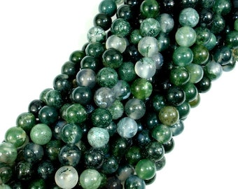 Moss Agate Beads, Round, 6mm, 15.5 Inch, Full strand, Approx 62 beads, Hole 1mm, A quality (323054002)