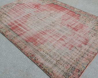 Large Oushak Rug,Vintage Rug,6'8''x9'1''feet, Home Living,Pile Carpet,Turkish  Carpet,Area Rug,Large Rug,Fashion Rug,Floor Rug,Rugs,