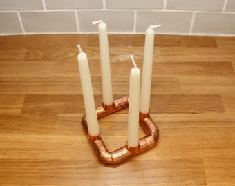 Copper Pipe industrial candle holder 4 candle