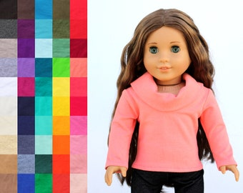 Fits like American Girl Doll Clothes - Cowl Neck Top, You Choose Color | 18 Inch Doll Clothes