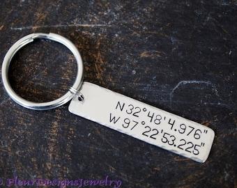Latitude and Longitude Key Chain, Coordinates Keychain, Latitude Longitude Keychain
