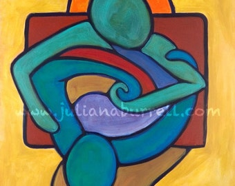 Giclee Art Print from Original Acrylic Painting entitled Table Talk - 30x40 inch