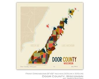 Door County, Wisconsin Art Map Print by James Steeno