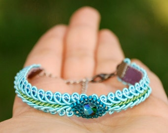Soutache Bracelet, Friendship wrap bracelet, Ethnic lace jewelry, Eclectic turquoise teal green boho cuff, Handmade blue gift for her OOAK