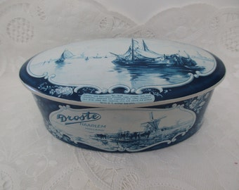 vintage blue oval DECORATIVE TIN - made in Holland, Droste