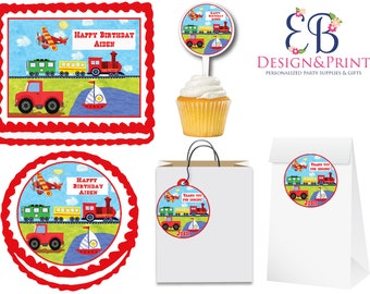 On The Go Transportation Truck Train Cars Edible Birthday Party Cake Cupcake Toppers Choose From 10 Frosting Sheet Sizes Custom Personalized