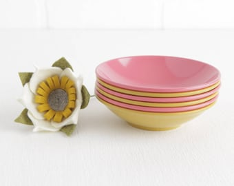 Vintage Set of 6 Goldenrod Yellow and Coral Pink Melmac or Melamine Small Bowls, Fruit Bowls