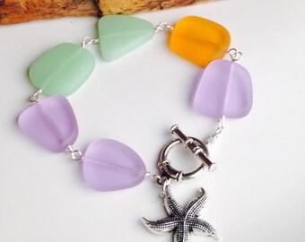 Sea Glass Bracelet, Starfish Bracelet, Beach Bracelet, Colorful Bracelet, Orange, Purple, Green, Plus Size Bracelet, Etsy