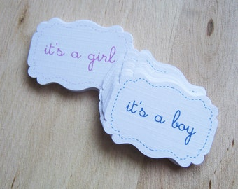 Its a girl tags (Set of 12) or Its a boy tags - Baby Shower Tags - Baby Shower Favor Tags - Baby Shower Cupcake Toppers -