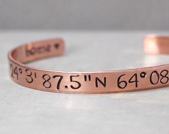 Copper Coordinate Cuff, Copper Cuff, Coordinate Bracelet, Custom Coordinates, Coordinate Cuff, Personalized Gift Idea, Personalized Jewelry