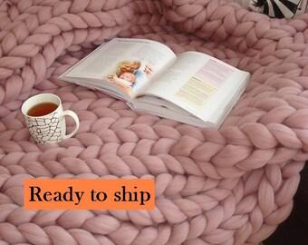 Chunky Knit Blanket 100% Merino Wool Arm Knit Blanket Thick Knit Blanket Chunky blanket Chunky knit throw Knit blanket Giant blanket Bulky