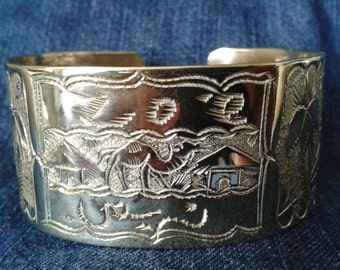Fabulous Brass Cuff with Middle Eastern Design