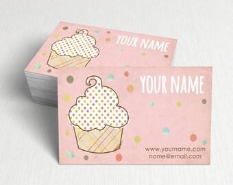 Business Cards  Custom Business Cards  Personalized Business Cards  Business Card Template  Modern Business Cards  Cupcake Business Card A5