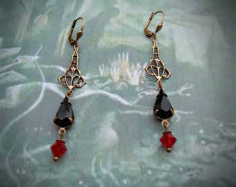 Delicate Art Nouveau / Deco earrings, oxidized brass, antiqued brass, Czech glass jet black stones, Czech glass red AB beads, leverbacks