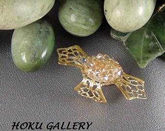 Fit Bit Slide, Jewelry - Swarovski Multi Light Gold Rocks, Brass Filigree Cross, Wrapped  - Hand Crafted Artisan Jewelry