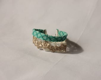 Friendship bracelet and lace cuff