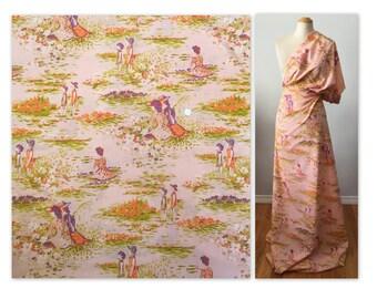 Vintage Impressionist Novelty Print Cotton Blend Fabric Textile 80 x 55