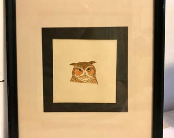 Beautiful vintage framed hand painted OWL watercolor