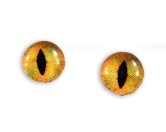 SALE 8mm Orange Cat or Dragon Glass Eye Cabochons - Taxidermy Eyes for Doll or Jewelry Making - Set of 2